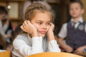 Girl bored in class