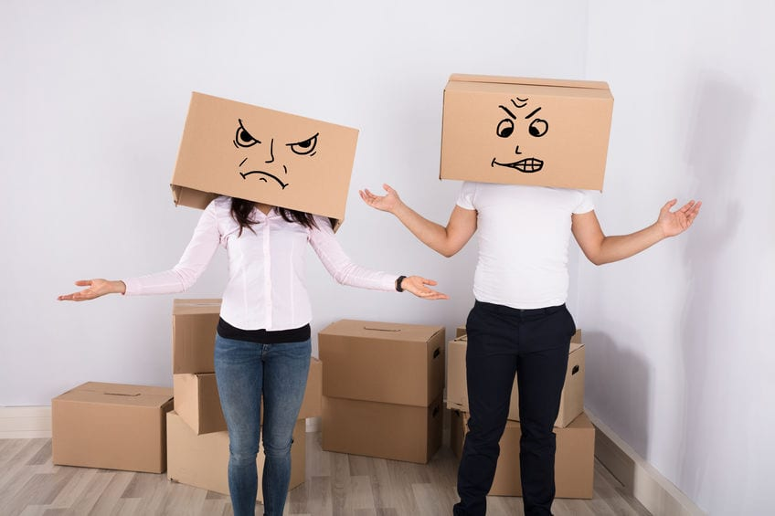 Couple dealing with the stress of moving